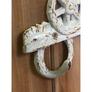 Rack Of 3 Cast Iron Shabby Chic Coat Hooks With Chicken In Farmyard