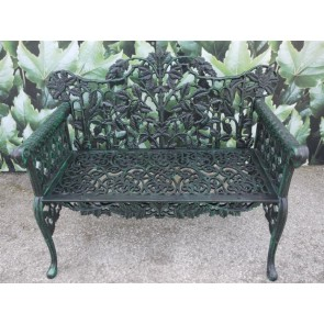 Solid Cast Iron 2 Seater Garden Bench Finished In Leaf Green,Black