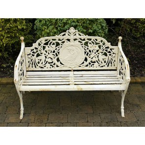 Heavy Cast Iron 3 Three Seater Garden Park Bird & Lady Bench Seat