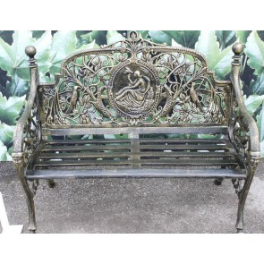 Heavy Cast Iron Black 2 Two Seater Garden Park Bird & Lady Bench Seat