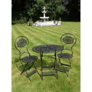 Black Bistro Oval Set 2 Chairs & Table