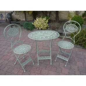 Green Bistro Oval Set 2 Chairs & Table