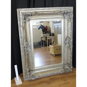 "36""x46"" Antique Silver Mirror Bold Frame Rectangular"