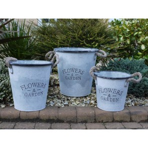 "3 Metal Rope Handle Buckets S,M,L ""FLOWERS & GARDEN"""