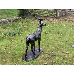 Life Size Heavy Standing Cast Iron Bronzed Buck Stag Deer Looking Right