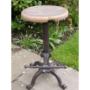 Cast Iron Stool With Adjustable Reclaimed Wooden Top