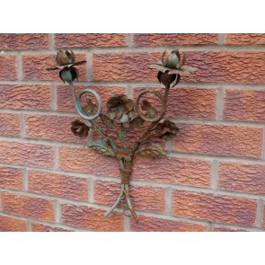 Rustic Rusty Green Candle Light Wall Holder Flower Rose Decor