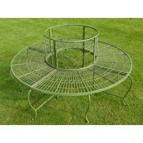 Wrought Iron Style Green Garden Oak, Ash, Pine Tree Bench Seat