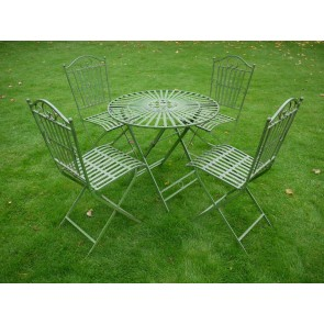 Antique Green Wrought Iron Style Slats Bistro Set Table & 4 Chairs