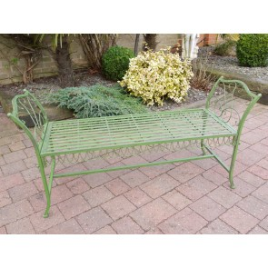 Green Wrought Iron Style Simple Backless Garden Bench