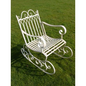 Garden Rocking Carver Chair In Shabby Chic Antique White Paint
