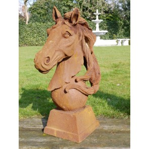 Large Life Like Cast Iron Rusty Horse Head With Flowing Mane Large 31""
