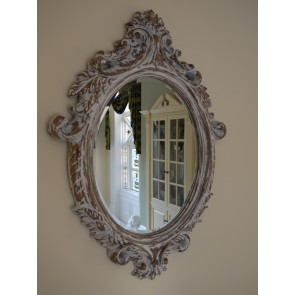 "24""x33"" Oval Guilded White Gold Shabby Chic Mirror"
