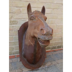 Life Like & Size Wall Mounted Plaque Rusty Cast Iron Horse's Head 31""