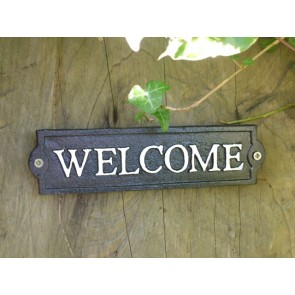 "8"" Cast Iron Office Or House Sign ""WELCOME"" Black With White Text"