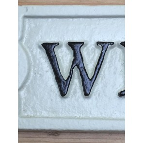 Cast Iron WELCOME Office Wall Door Sign White & Black Letters