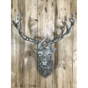 """Life Like Antique Silver Stags Head With Antlers Wall Hung Deer Buck 26"""" High"""