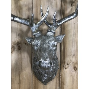 Life Like Antique Silver Stags Head With Antlers Wall Hung Deer Buck 26