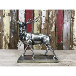 """Small Silver Stag On Base 15¼"""" High"""
