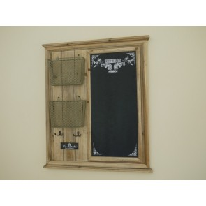 Chalk Noticeboard With 4 Double Hooks & 2 Baskets 25x30ins