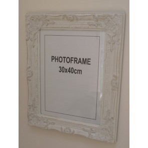 Picture Frame White Gold Brush