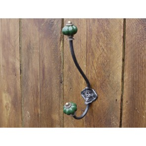 Wrought Iron Double Hook With Dark Green Porcelain Ends