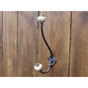 Wrought Iron Double Hook With Antique Cream Porcelain Ends