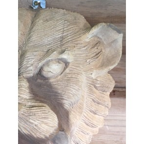 Hand Carved Solid Wooden Teak Rustic Lion's Head Wall Hanging 28x29cm