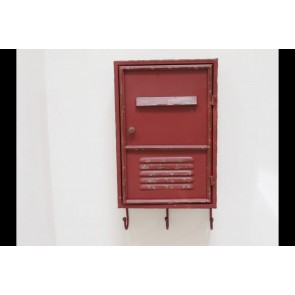 Industrial Red Metal Key Holder Cabinet 46x26x12cm
