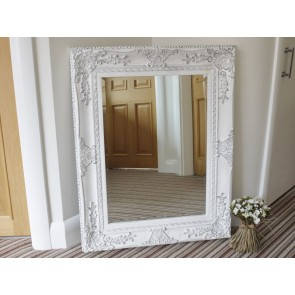 "29""x37"" Shabby Chic White Bevelled Mirror"