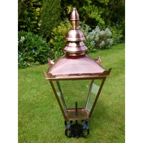 "32""x15"" Stain Copper Finish Lantern Lamp Top"