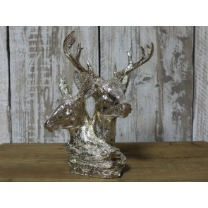 "Silver Resin Stag & Hind For Decoration 9"" High"