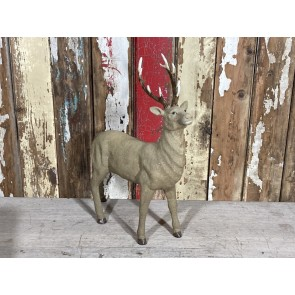 44cm Tall Standing Buck Stag Male Deer Looking Up Hessian Glitter look Resin