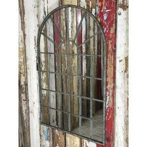 Metal Arched Framed 2ft 6 Wall Window Style Mirror Glass