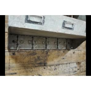 Industrial Metal Shelf Unit With 5 Hooks 31x41x19cm