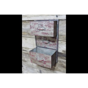 Industrial Wall Unit With 2 Open Compartments Shabby Chic Red 50x30x16cm