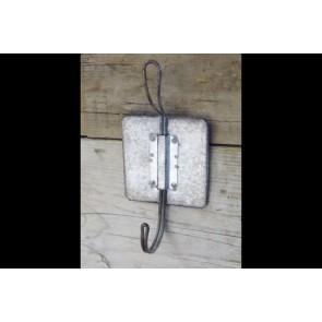 Industrial Grey Metal Double Hook 20x10x6cm