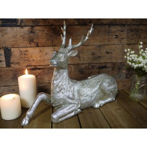 """Silver Finished Stag Lying Down 13"""" High"""