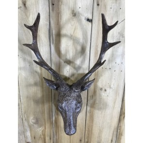 """Small Detailed Brown Wall Mounted Stags Head With Antlers 19"""""""