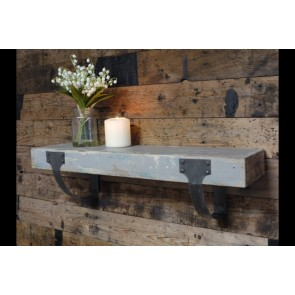 Wooden Industrial Shelf With Curved Metal Supports 16x50x15cm