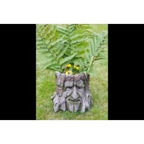 "Interesting Tree Stump Planter In Shape Of Man's Head 9¾""x11""x11"""