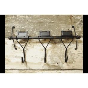 Industrial Metal Coat Rack With 3 Hooks & Name Slots 22x41x9cm