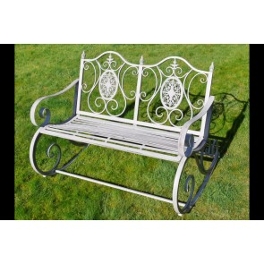 """Rocking Two Seater Garden Bench In Antique Grey Finish 47¼"""" Long"""