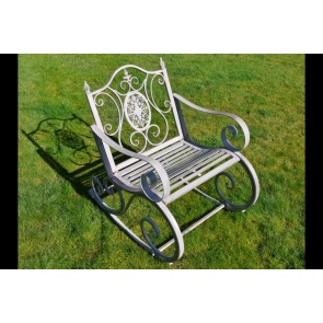 Metal Garden Rocking Chair In Antique Grey Finish