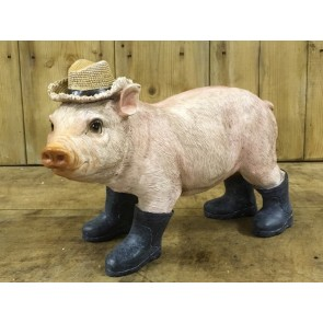 Qute Farm Piglet Pig In Wellie Boots & Hat Statue 22x31x14cm