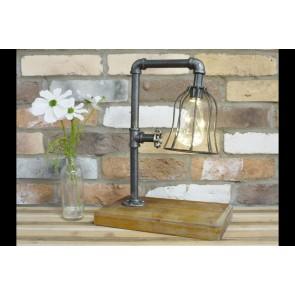 Industrial Light On Wooden Plinth 40x30x18cm
