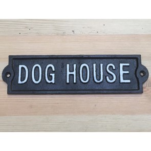 Fun Cast Iron Wall Sign DOG HOUSE Black With White Text