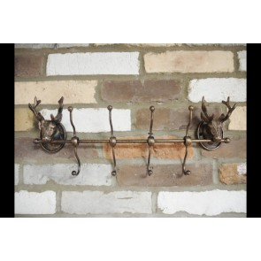Cast Iron Stag Head Wall Mounted 4 Double Hook Coat Rack
