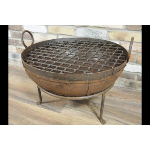 Large 2' Round Wrought Iron Garden Outside Camping Fire Pit Grill