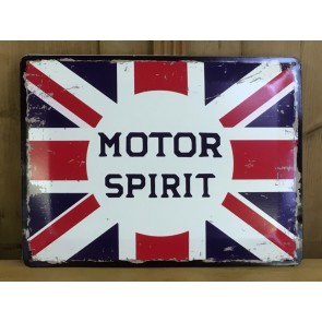 "MOTOR SPIRIT 11¾""X15¾"" Garage Style Tin Wall Sign"